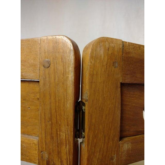 Vintage Carved Wood Room Screen Linen Panels For Sale - Image 11 of 12