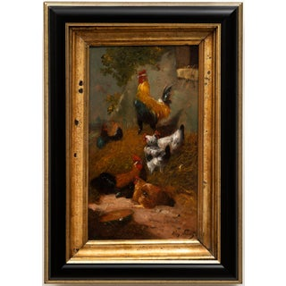 """""""Chickens in the Farmyard"""", by Henry Schouten (Indonesia, Belgium 1857-1927) Oil on Board For Sale"""