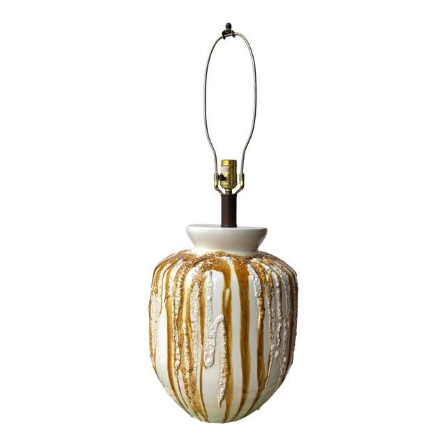 Beautiful Vintage Mid Century Modern Large Drip Glaze Table Lamp For Sale
