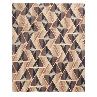 Hand Knotted Scandinavian Design Inspired Geometric Beige and Gray Wool Rug - 8′2″ × 10′ For Sale