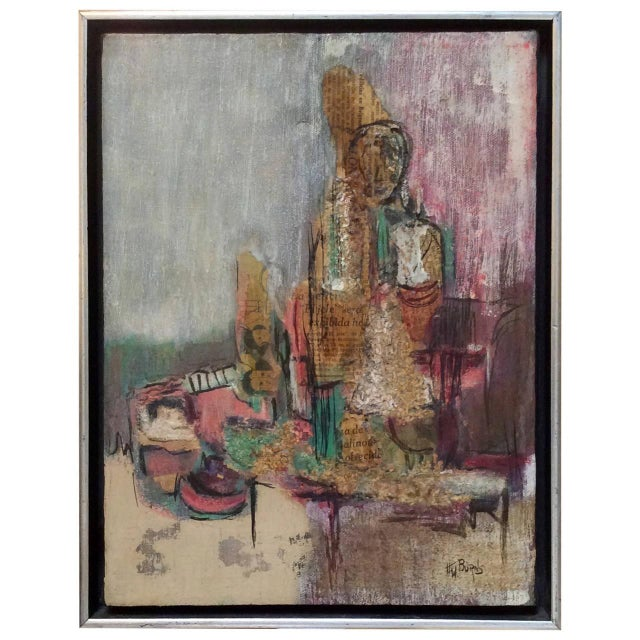 Signed Mixed-Media Abstract Painting - Image 1 of 7