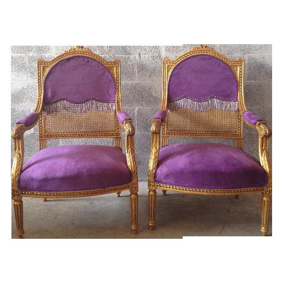 Bon Antique Louis XVI Purple Chairs   A Pair