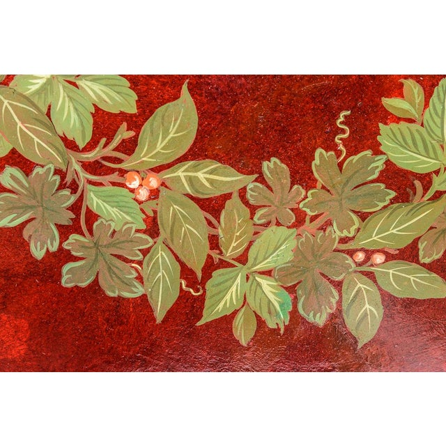 """Antique Floral Tole Tray, 48"""" Across, C.1890 French For Sale In West Palm - Image 6 of 12"""