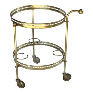 French Round Drinks Cart of Brass and Glass For Sale
