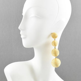 1980s Dancing Disco Oversized Dangling Yellow Thread Pierced Earrings Preview