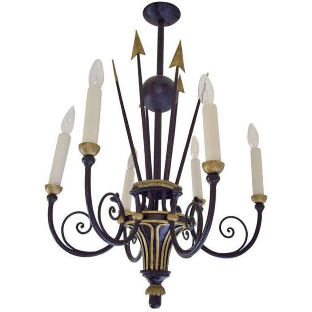 Metal French Empire Style Six Light Chandelier For Sale - Image 7 of 7