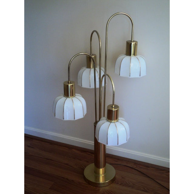 Gold Hollywood Regency Brass & Glass Arc Table Lamp For Sale - Image 8 of 8