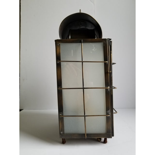 British Colonial American Colonial Style Brass Lantern Lamp For Sale - Image 3 of 12