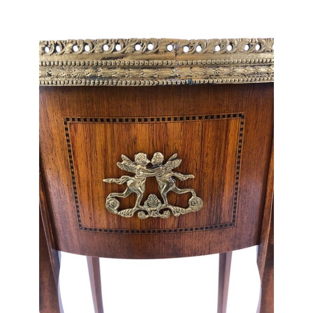Louis XVI Exquisite Italian Kidney Shaped Inlay Mahogany Nightstand or End Table For Sale - Image 3 of 13