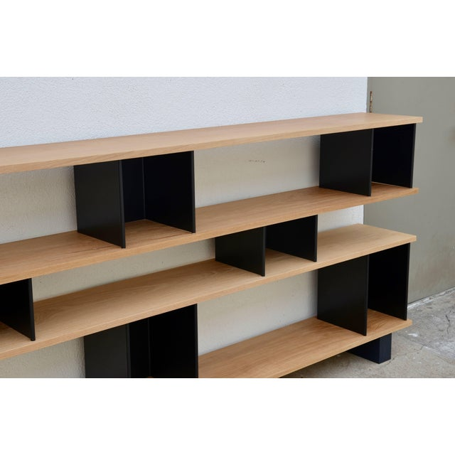 "2010s Design Frères Low ""Horizontal"" Matte Black and Polished Oak Shelving Unit For Sale - Image 5 of 7"