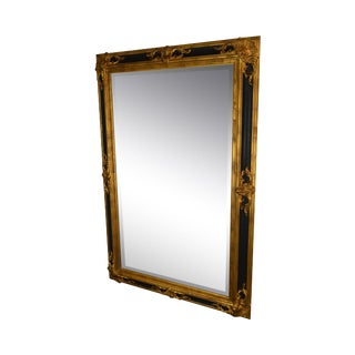 1990s LaBarge French Style Black & Gold Beveled Mirror For Sale