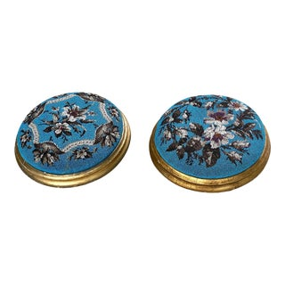 Late 19th Century Victorian French Beaded Floral Footstools - a Pair For Sale