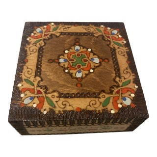 1960s Wooden Trinket Marquetry Box For Sale