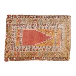 """Vintage Turkish Prayer Rug - 3'8"""" x 5'2"""" For Sale"""