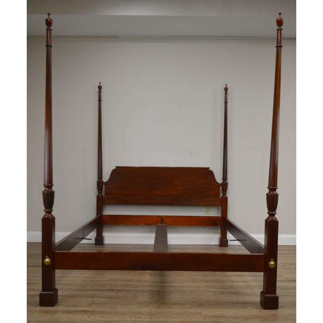 Wood Baker Mahogany Queen Size Chippendale Style Poster Bed For Sale - Image 7 of 13
