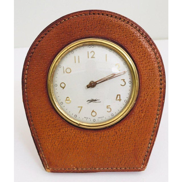 Leather and Brass French Longchamp Desk Clock Jacques Adnet Style For Sale In Los Angeles - Image 6 of 13