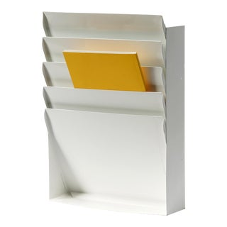 1960s Retro Steel File Holder/ Magazine Rack/ Mail Organizer, Refinished in Gloss White For Sale
