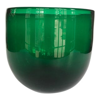 Vintage Green Blown Glass Bowl For Sale