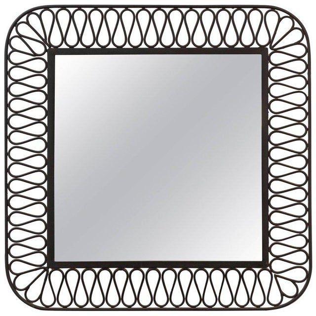 Glass Decorative Black Iron Mirror For Sale - Image 7 of 7