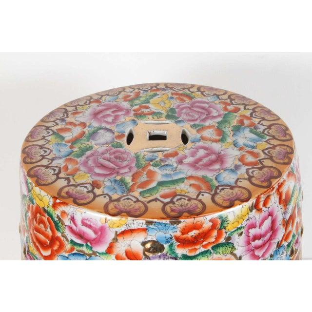 Chinese Pink Ceramic Garden Seat With Lucky Coins For Sale In Los Angeles - Image 6 of 8