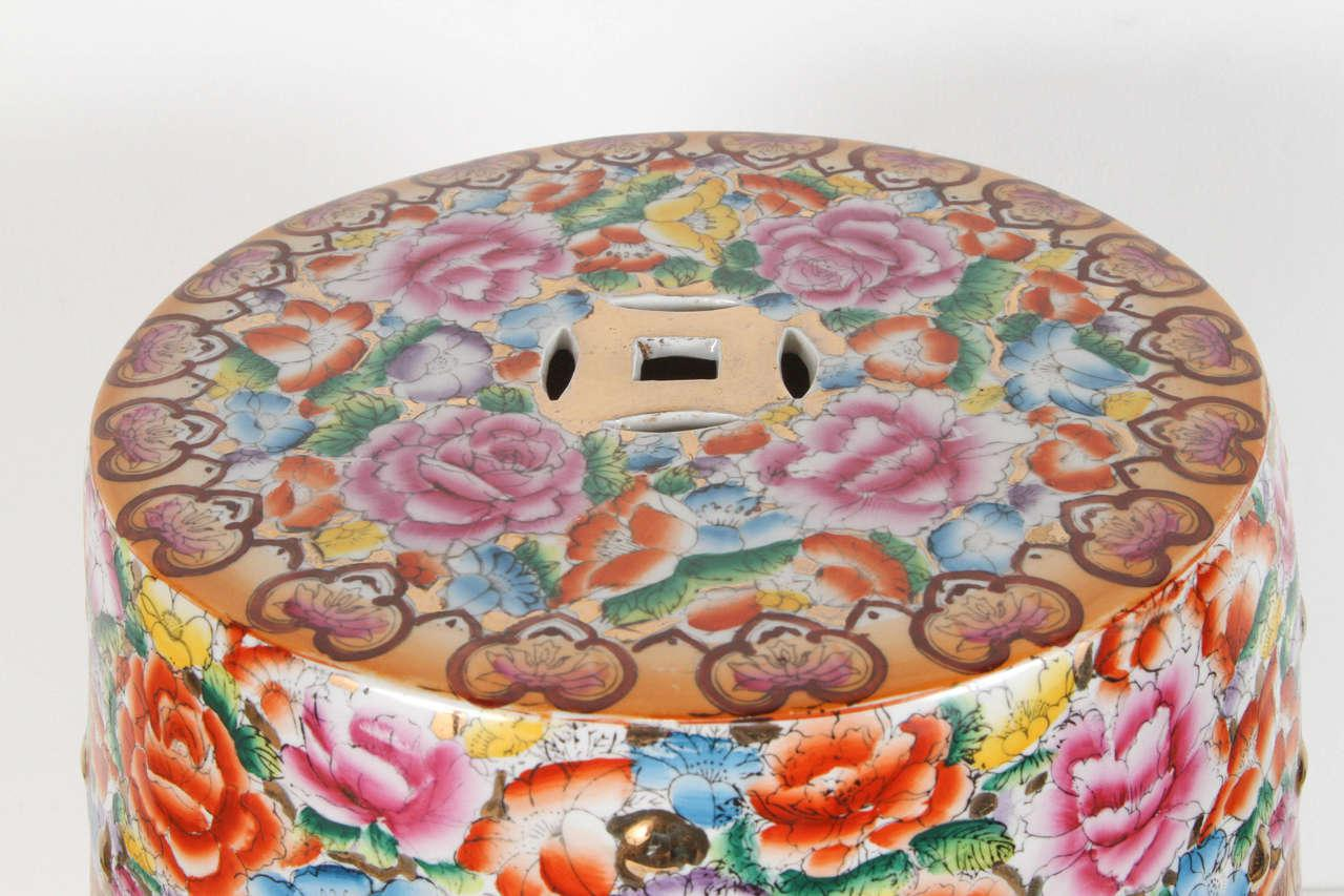Chinese Pink Ceramic Garden Seat With Lucky Coins For Sale In Los Angeles    Image 6