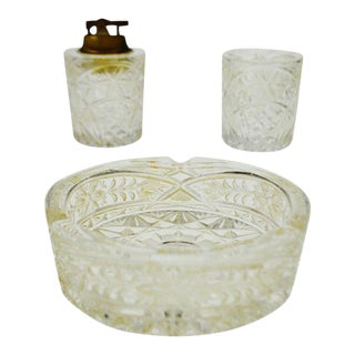 Lalique Style Lighter, Ashtray and Cigarette / Match Caddy Set - 3 Piece Set