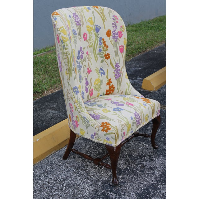 Vintage Mid Century Floral Wingback Chair Chairish