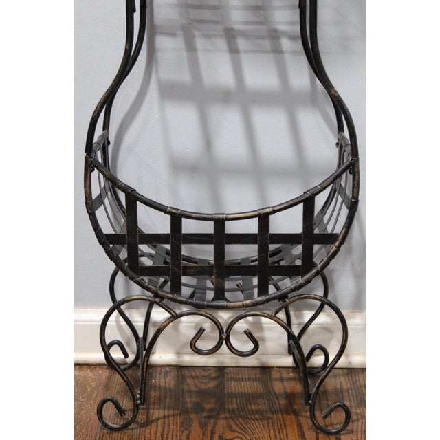 French Country Cast Iron Tiered Metal Plant Stand For Sale - Image 4 of 7