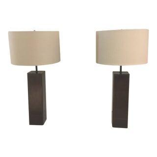 Mid Century Modern Rectangular Bronze Lamp - a Pair For Sale