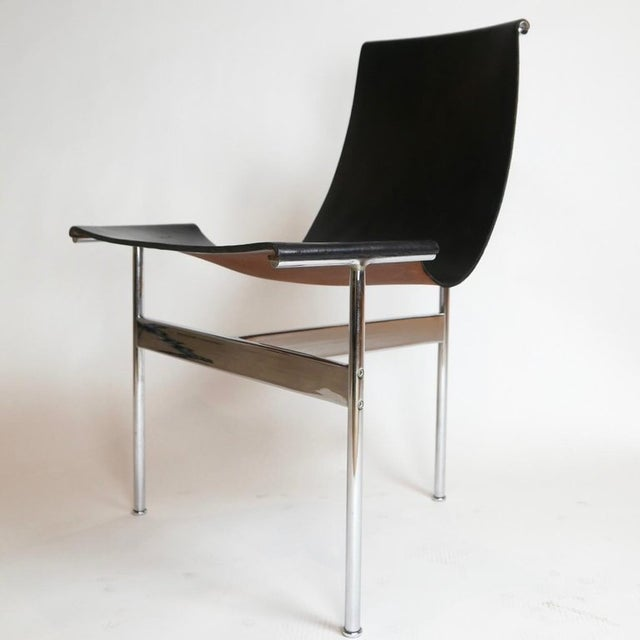 """Industrial Set of 6 1952 Katavolos Kelley & Littell for Laverne """"T"""" Chairs in Black Leather For Sale - Image 3 of 13"""