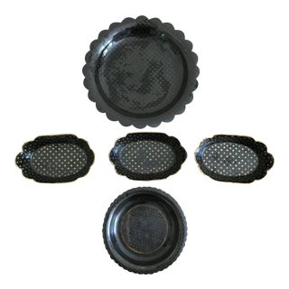 Antique English Paper Mache Dishes Black With Gold Stars - Set of 5 For Sale