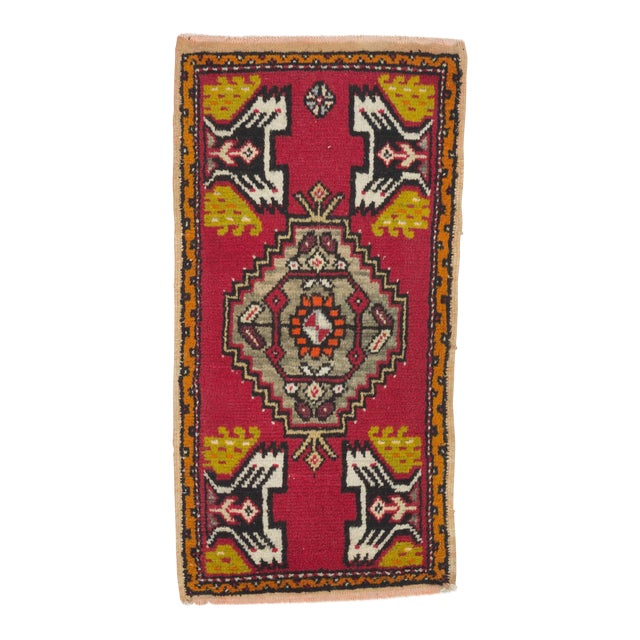 Vintage Handknotted Turkish Rug - 1′8″ × 3′3″ For Sale
