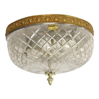 Waldorf Astoria Crystal Flush Mount Pineapple Finial Light Fixture For Sale