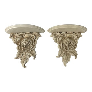 1980s Shabby Chic Syroco Rosette Wall Shelves - a Pair For Sale