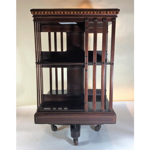 English Traditional Antique English 19th Century Mahogany and Satinwood Inlay Bookstand. For Sale - Image 3 of 7