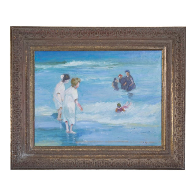 American Impressionist Oil on Canvas of Ocean Play For Sale