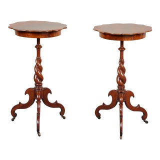 Pair of Late 19th C. Swedish Walnut Side Tables For Sale