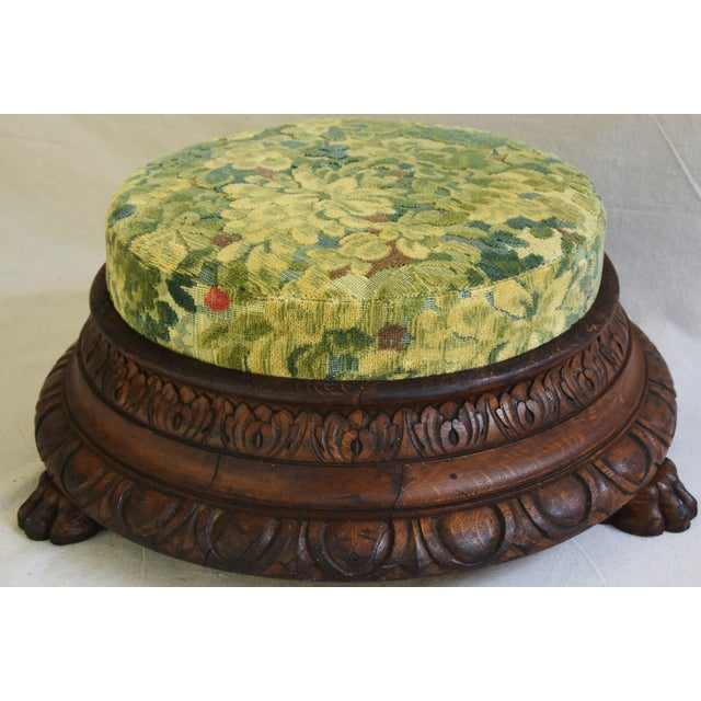 Early Carved 1900s Foot Stool w/ Scalamandre Marly Velvet Fabric - Image 11 of 11
