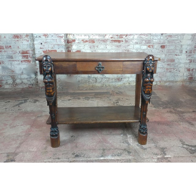 Gothic Antique Side table w/two carved Nude Female Figures For Sale - Image 3 of 12