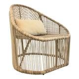 Image of Modern Indoor/Outdoor Beige Vinyl Strap Lounge Chair For Sale