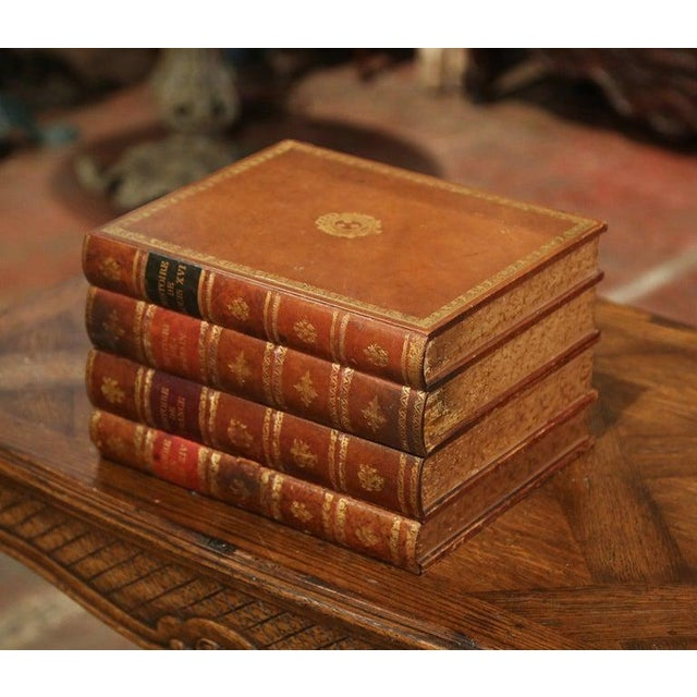 French Early 20th Century French Leather Bound Books Decorative Box With Drawer For Sale - Image 3 of 10
