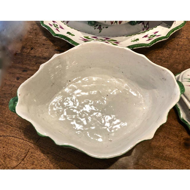 Pair French Faience Soup Tureens With Under Plates, Early 19th Century For Sale - Image 9 of 12
