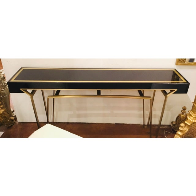 Caracole Signature Classically Modern Black and Gold Moderniste Console Table For Sale In Atlanta - Image 6 of 7
