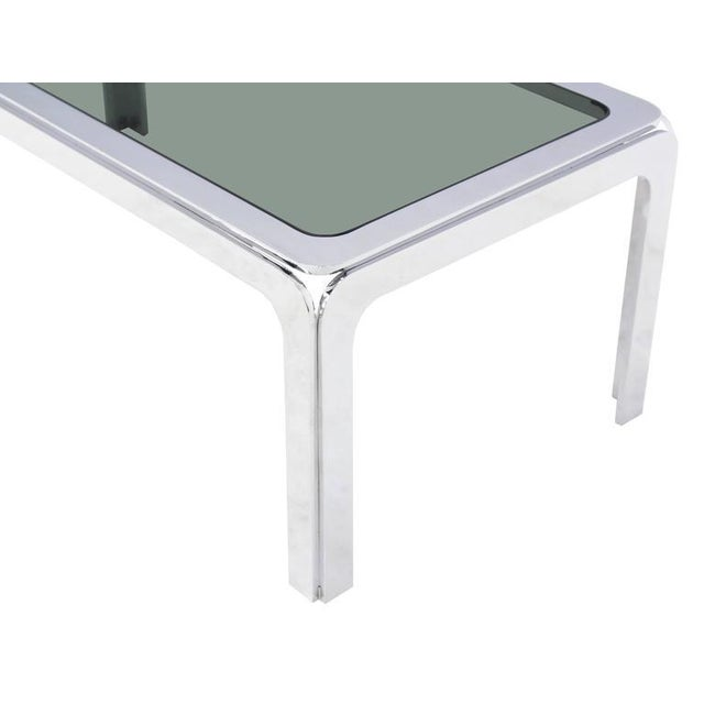 Early 20th Century Chrome and Smoke Glass Top Rectangular Coffee Table For Sale - Image 5 of 6