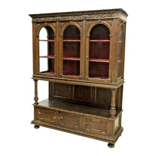 20th Century Spanish Renaissance Revival Oak Display Vitrine Cabinet For Sale