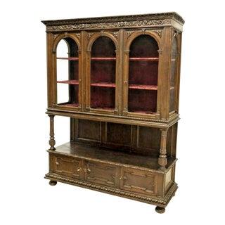20th Century Spanish Renaissance Revival Oak Display Vitrine Cabinet For Sale