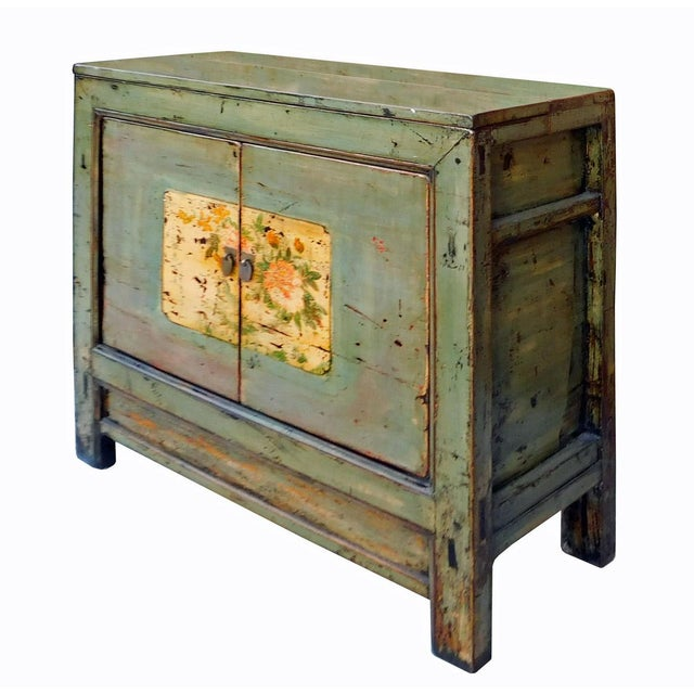 Asian Chinese Floral Cabinet in Crackle Blue-Gray For Sale - Image 3 of 8