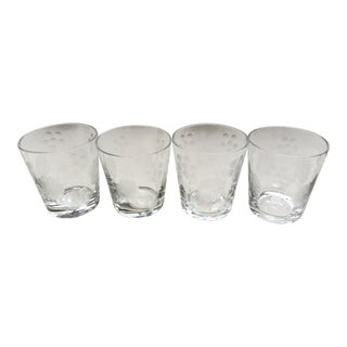 1950s Mid Century Wheel-Cut Design Cocktail Glasses - Set of 4 For Sale