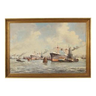 Port of New York Harbor Painting by Ardi Verveen For Sale
