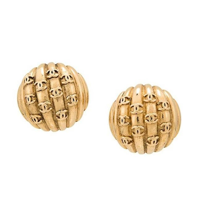 """Chanel Chanel Gold Textured """"Chanel"""" Charm Evening Stud Earrings in Box For Sale - Image 4 of 4"""